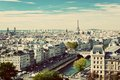 Paris Panorama, France. Eiffel Tower, Seine River Stock Images - 41678894