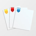 Sheets Of White Paper With Colorful Bookmarks Royalty Free Stock Images - 41691549