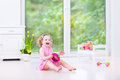 Funny Toddler Girl Playing Tambourine In White Room Royalty Free Stock Photos - 41694118