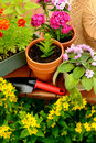 Flower Pots And Shovel Pot In Green Garden Royalty Free Stock Photography - 41705707