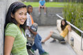 Teenage Girl (13-15) With Friends Outdoors, Smiling, Portrait Royalty Free Stock Photo - 41710105