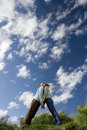 Couple Leaning Against Each Other Outdoors, Low Angle View Stock Photography - 41710672