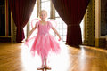 Ballerina Girl (4-6) In Hall, Smiling, Portrait Royalty Free Stock Image - 41712676