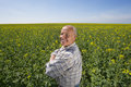 Smiling Farmer Standing With Arms Crossed In Rape Seed Field Royalty Free Stock Photo - 41714235