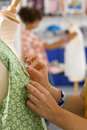Serious Student Sewing Clothing In Home Economics Classroom Stock Image - 41716301