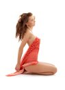 Sitting Girl With Red Sarong Stock Photography - 41724862