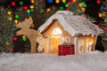 Gingerbread House With Gingerbread Man, Elk And Christmas Trees Royalty Free Stock Photography - 41742617