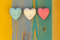 Love Valentine S Hearts On Wooden Texture Painted Board Backgrou Stock Image - 41778151