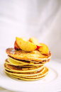 American Pancakes With Peaches And Honey Stock Photography - 41786452