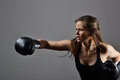 Beautiful Woman With The Black Boxing Gloves Royalty Free Stock Photography - 41793447