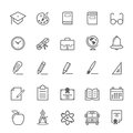Set Of Outline Stroke Education Icon Royalty Free Stock Photos - 41803798