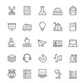 Set Of Outline Stroke Education Icon Royalty Free Stock Photos - 41804438