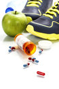Different Tools For Sport And Pills Stock Photo - 41808260