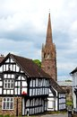 Timbered Buildings And Church Spire, Weobley. Royalty Free Stock Photography - 41811437