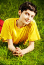 Boy On Grass Stock Images - 41815414