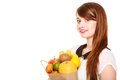 Grocery. Girl Holding Paper Shopping Bag With Fruits Stock Image - 41819191