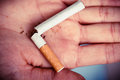 Addiction. Broken Cigarette On Hand. Quit Smoking Stock Image - 41819681