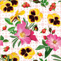 Seamless Pattern Of  The Roses, The Pansies And  The Berries Royalty Free Stock Photography - 41831737