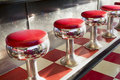 Warm Morning Sunlight Highlights These Beautifully Classic Diner Seats Stock Photo - 41851800