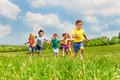 Running Kids In Green Field During Summer Royalty Free Stock Photos - 41851978