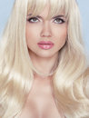 Stare. Makeup. Beautiful Blond Woman With Long Wavy Hair. Stock Image - 41875691