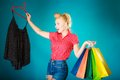 Pinup Girl Buying Clothes Black Skirt. Sale Retail Stock Images - 41881924