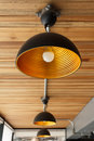 Modern Lamp On Wooden Ceiling Royalty Free Stock Photos - 41891678
