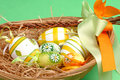 Easter Eggs In A Basket Stock Images - 4192474