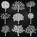 Vector Collection Of Chalkboard Style Tree Silhouettes Royalty Free Stock Photos - 41901228