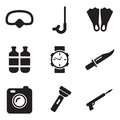 Diving Gear Icons Royalty Free Stock Image - 41902466