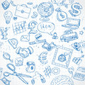 Seamless Pattern Of Blue Doodles On Business Theme 1 Stock Photos - 41910203