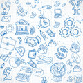 Seamless Pattern Of Blue Doodles On Business Theme 3 Royalty Free Stock Image - 41910206