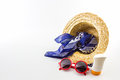Woven Hat, Red Sunglasses, Scarf With Body Lotion. Royalty Free Stock Photos - 41917818