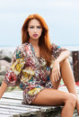 Portrait Of A Young Redhead Woman In A Dress Royalty Free Stock Photo - 41921135
