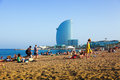 Barceloneta Beach And Hotel Vela In Summer Evening. Barcelona Royalty Free Stock Photography - 41921237