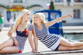 Two Blonde Near Yacht Club Royalty Free Stock Photo - 41930715