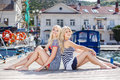 Two Blonde Near Yacht Club Stock Photography - 41930732