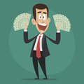 Character Businessman Happy Holds Dollar Bills Royalty Free Stock Photo - 41930845