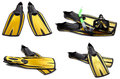 Set Of Yellow Swim Fins, Mask And Snorkel For Diving Stock Photos - 41933643