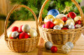 Wicker Baskets With Christmas Glassballs Stock Images - 41939634
