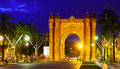 Triumphal Arch In  Night. Barcelona Royalty Free Stock Photo - 41958735