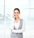 Business Woman Smile Cell Phone Call Royalty Free Stock Image - 41960086