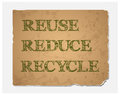 Reuse-Reduce-Recycle Text On  Recycled Paper Texture Stock Photos - 41967813