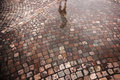 Street With Cobble Stones And Puddle After Rain Stock Photography - 41977122