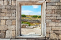 Wall Of Stones With A Hole Under The Door. Cultural Monument Che Stock Photography - 41988942