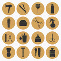 Barber Shop Golden Icons Collection Stock Images - 42004454