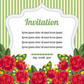 Retro Invitation With Red Flowers Royalty Free Stock Image - 42007776