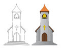 Color In And Line Drawing Church With Bell Vector Stock Images - 42020914