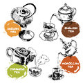Teapot And Cups Icons Set Stock Images - 42027424