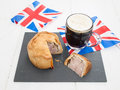 Pork Pie And Beer With Flags Stock Photo - 42039910